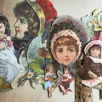 Victorian Paper Ephemera Cutouts 1800s-1900s / Victorian Postcards Trade Advertisements / Scrapbook Collage