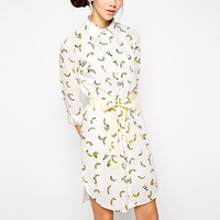 White Banana Print Sleeve Chiffon Collared Dress