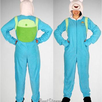 Licensed cool Adventure Time FINN Adult Costume PJs Pajamas Hood Mask Hat Removable Feet XL