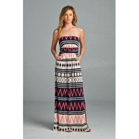Chevron Maxi Dress - Coral
