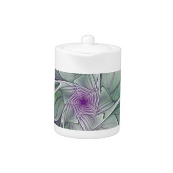 Flower Dream, Abstract Purple Green Fractal Art Teapot