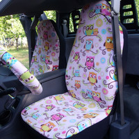 1 Set of Pink Owls Print  Car Seat Covers and steeling wheel cover custom made.