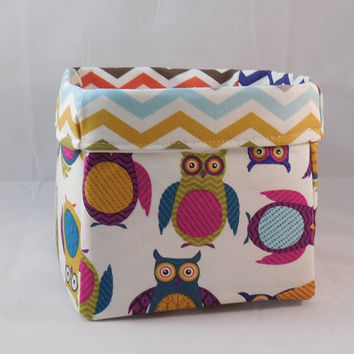 Bright Colored Owl And Chevron Themed Fabric Basket For Storage Or Gift Giving