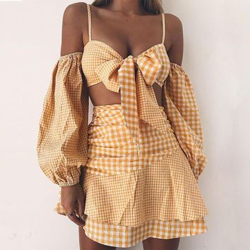 Bowknot Spaghetti Straps Long Sleeve Cold Shoulder Crop Top with High Waist Short Skirt Two Pieces Dress Set