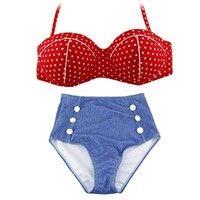 URPOWER® Retro Polka Dots Women Ladies Bikini Swimwear Bathing Suit (red, M)