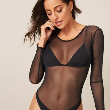 Mesh Sheer Solid Skinny Bodysuit Without Bra
