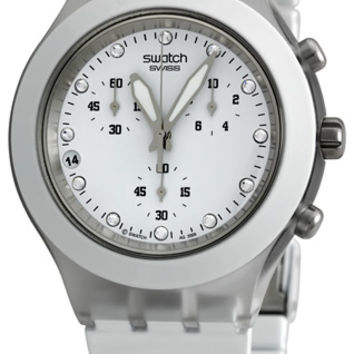Swatch Full-Blooded White Ladies Chronograph Quartz Watch SVCK4045AG
