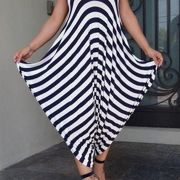 Dark Blue Striped Draped Backless Spaghetti Strap Oversized Long Jumpsuit