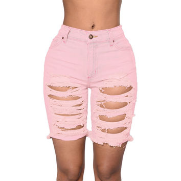 Pink Distressed Bermuda Shorts LAVELIQ