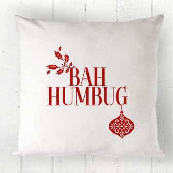 Bah Humbug Christmas Pillow Cover - Christmas Decor, Red White Pillow, Farmhouse Pillow, 16 x 16, 18 x 18