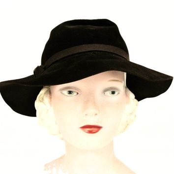 Vintage Dobbs Fedora Deep Brown Womens 1940s Casablanca 7 1/4