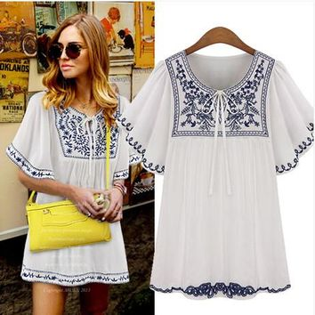 Boho Hippie Peasant Mexican Blouse