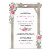 Rustic Country Pink Floral Wedding Arch Card