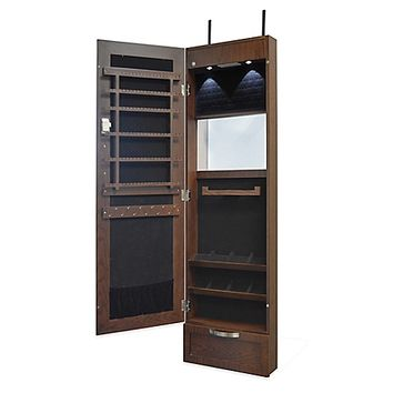 New View Over-the-Door Mirrored Jewelry Cabinet in Espresso