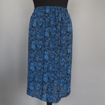 Vintage 80s 90s Black Blue Rose Print Chiffon Pencil Skirt High Waist Wiggle Skirt 1940s 50s Style Mad Men Pin Up Girl Summer Beach Hipster