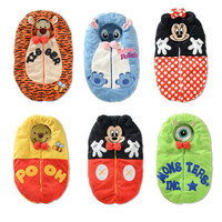 Baby Sleep Bag Cartoon Tiger Minnie Stich Envelope Baby Winter Sleeping Sack Coral Fleece Infant Swaddle Blankets Bed Warm Wrap