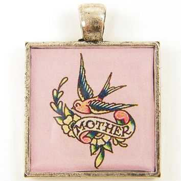 Mother Pendant - Old School Tattoo Bird Flowers Pink Square Resin Mom Jewelry Charm