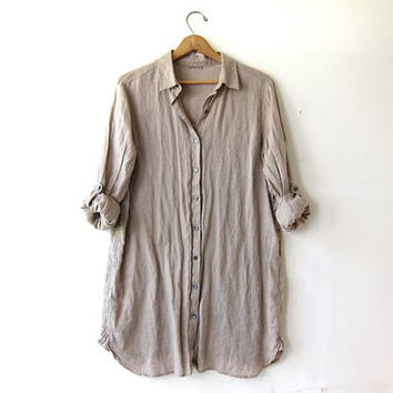 vintage linen shirt. Button down oatmeal tunic top. Long slouchy shirt dress. modern minimalist. S