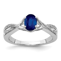 14k White Gold Genuine Oval Blue Sapphire And Diamond Ring