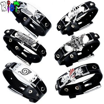Naruto Sasauke ninja 19 Styles PU Punk Leather bracelet & bangles Assassins Zelda overwatch  LOL alloy logo Bracelace Fans Gift Fashion jewelry AT_81_8