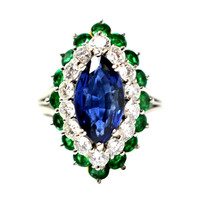 Cartier Sapphire Daimond And Emerald Ring Platinum & Yellow Gold Ring Circa 1960's Orginal Paper Work.