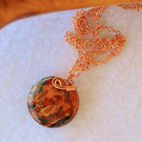 Jasper necklace, brecciated jasper, wire wrapped, copper necklace, jasper pendant, round pendant, gifts for mom, multicolor necklace ,ooak