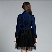 Fashion Denim Frills Stitching Lace Dress