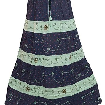 Women's Vintage Skirts A-Line Blue Embroidered Flowy Long Skirts L