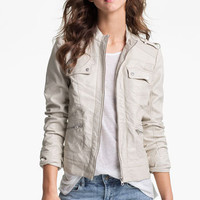 Collection B Perforated Faux Leather Jacket (Juniors) | Nordstrom