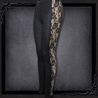 Womens GOTHIC ELEGANCE Rose Lace Stripe Leggings Black From Spiral USA in the United States