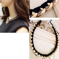2014  New Fashion jewelry gold chain black necklace women punk pendant Bib Statement