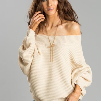 Sandra Cream Off the Shoulder Sweater