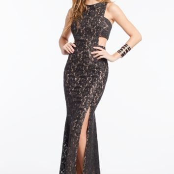 Sequin Lace Cutout Side Dress