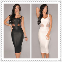 2016 New Arrival Black White  Sleeveless Faux Leather Mesh Accent midi club Dresses  Sexy Women Party Clubwear S6625
