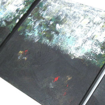 Black Acrylic Abstract Landscape Painting Modern Art Original on Canvas