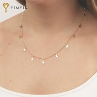 Fashion Women Jewelry Natural Alloy The Five-pointed Star Pendant Necklace And Heart Pendant Necklace Woman Choker Necklaces