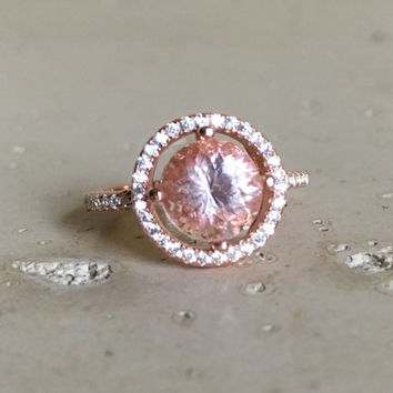 Morganite Silver Ring- Halo Ring- Promise Ring for her- Stone Ring- Pink Gemstone Ring- Morganite with CZ Ring- Rose Gold Ring