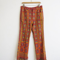 Indian 1970s Surabaya Tassel Pants // Medium Colorful Print Folk Hippie Tapestry Pant // Vintage Unisex Clothing