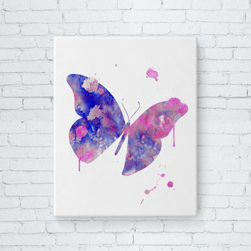 Gallery Wrapped Canvas - Butterfly Art, Watercolor Butterfly Painting, Butterfly Wall Decor, Watercolor Canvas Print, Girls Room, Baby Girl
