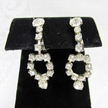 Vintage Clip on Earrings Clear Crystal Rhinestone Dangle