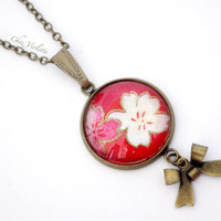 Red Pendant Necklace and Bronze Necklace Floral and romantic charm floral design Japanese fabric backed cabochon