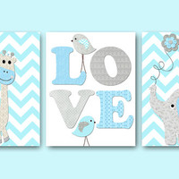 Bird Elephant Giraffe Wall Art Baby Boy Nursery Art Print Children Wall Art Kids Wall Art Childrens Room Decor set of 3 8x10 aqua gray grey