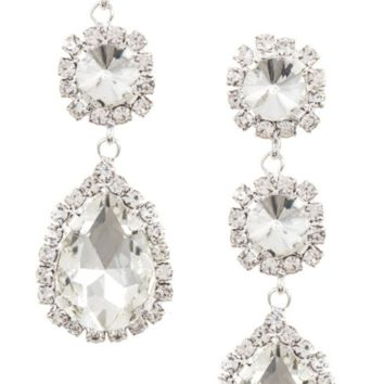 Triple Link Rhinestone Earrings- Silver