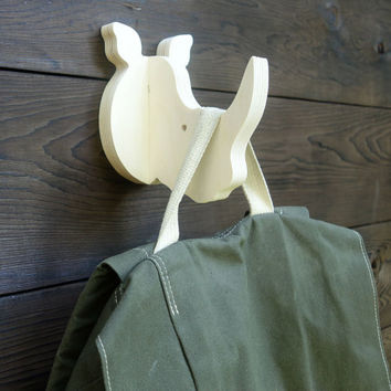Playful animal wall hook: plywood rhino head wall hanger for coats, towels, bags, hats, backpacks and everything - great for kids' rooms