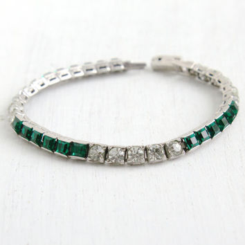 Antique Art Deco Emerald Green & Clear Rhinestone Bracelet- Vintage 1930s 1940s Sterling Silver Formal Jewelry Hallmarked Otis