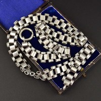 Marvelous Victorian Silver Book Chain Collar Necklace