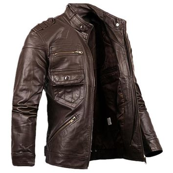 Fashion Men Zipper Leather Jacket For Men New Slim Fit Motorcycle Leather Jackets Male Designer