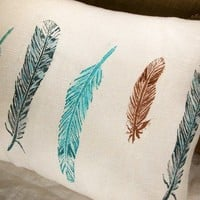wild bird feathers lumbar pillow case by giardino on Etsy