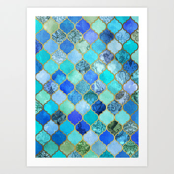 Cobalt Blue, Aqua & Gold Decorative Moroccan Tile Pattern Art Print by micklyn