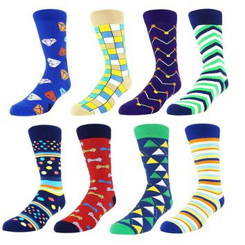 Zmart Men's Art Patterned Casual Crew Socks 8-Pack